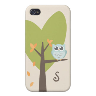 Cute Owl Monogram Tree Branch Leaves Monogrammed Case For iPhone 4
