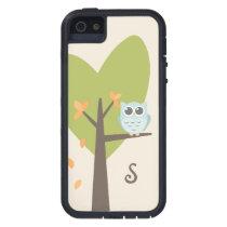 Cute Owl Monogram Tree Branch Leaves Monogrammed iPhone SE/5/5s Case