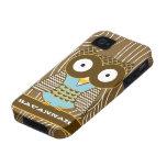 Cute Owl Moorish Zig Zag Pattern Choose Your Color iPhone 4 Case