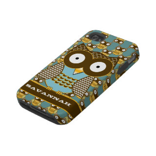 Cute Owl Moorish Zig Zag Pattern Choose Your Color Tough Iphone 4 Cases
