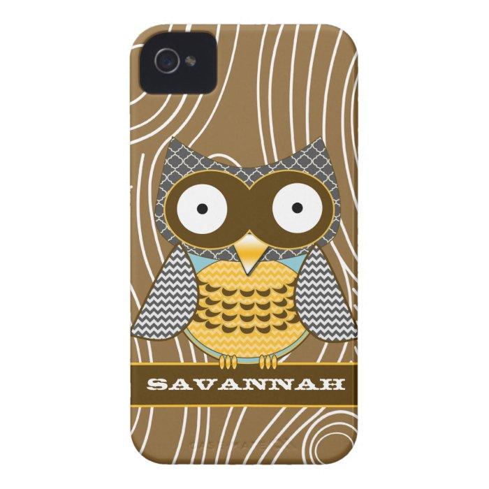 Cute Owl Moorish Zig Zag Pattern Choose Your Color Case-Mate iPhone 4 Case