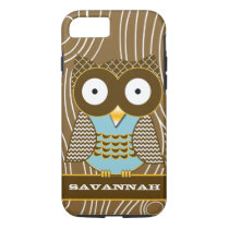 Cute Owl Moorish Zig Zag Pattern Choose Your Color iPhone 7 Case