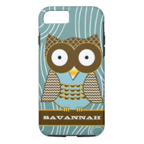 Cute Owl Moorish Zig Zag Pattern Choose Your Color iPhone 8/7 Case