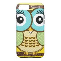 Cute Owl Moorish Zig Zag Pattern Choose Your Color iPhone 8/7 Case