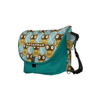 Cute Owl Morrish Trellis Pattern You Choose Colors Messenger Bag