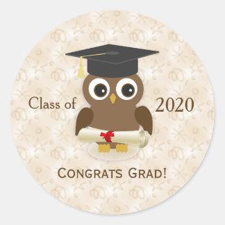 Cute owl, mortar, diploma Graduations Sticker