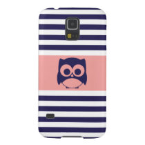 Cute Owl | Navy Blue Coral Stripes Galaxy S5 Cover