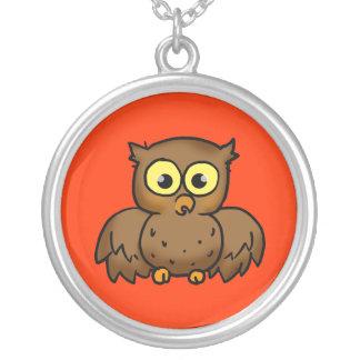 Cute owl round pendant necklace