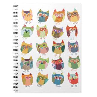 Cute owl notebook, journal, owl stationery spiral notebook
