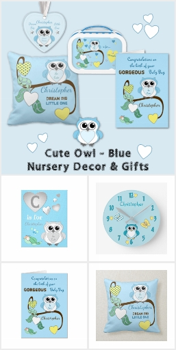 Cute Owl Nursery Decor & Gifts Blue