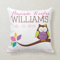Cute OWL on a branch Baby Birth Announcement Throw Pillow