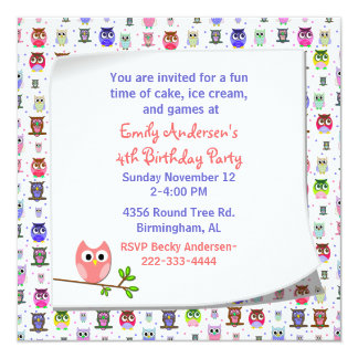 Cute Owl on a Branch Birthday Invitation