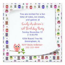 Cute Owl on a Branch Birthday Invitation