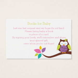 Cute OWL on a branch BOOK REQUEST Baby Shower Business Card