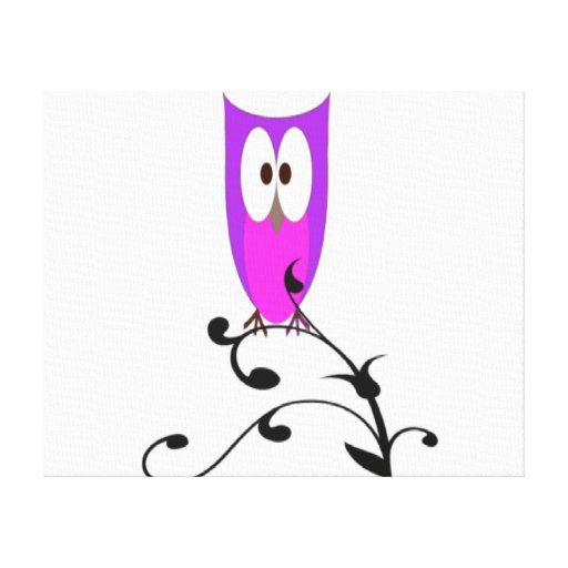 Cute Owl on a Branch Stretched Canvas Prints