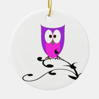 Cute Owl on a Branch Ceramic Ornament