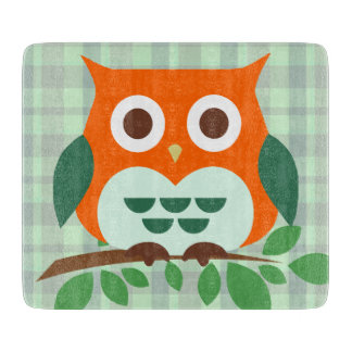 Cute Owl on a Branch Cutting Board