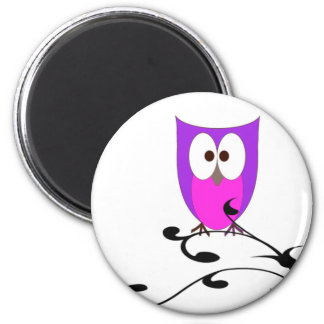 Cute Owl on a Branch Magnet