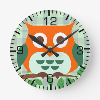 Cute Owl on a Branch Round Clock