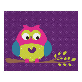 Cute Owl On A Tree Branch Poster