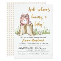 Cute Owl on a Tree Stump Baby Shower Invitation