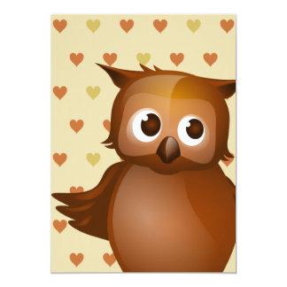 Cute Owl on Beige Heart Pattern Background Card