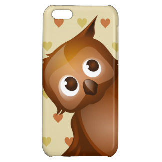 Cute Owl on Beige Heart Pattern Background Cover For iPhone 5C