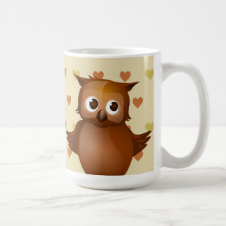 Cute Owl on Beige Heart Pattern Background Coffee Mug