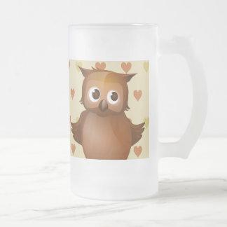Cute Owl on Beige Heart Pattern Background Mug