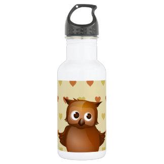 Cute Owl on Beige Heart Pattern Background 18oz Water Bottle
