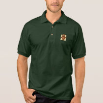 Cute Owl on Beige Heart Pattern Background Polo Shirt