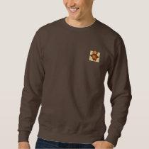 Cute Owl on Beige Heart Pattern Background Sweatshirt