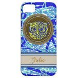 cute owl on blue abstraction cover for iPhone 5/5S