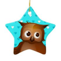 Cute Owl on Blue Heart Pattern Background Ceramic Ornament