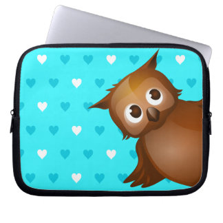 Cute Owl on Blue Heart Pattern Background Laptop Computer Sleeves