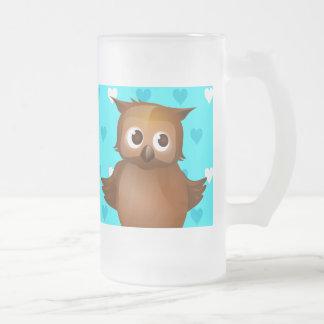 Cute Owl on Blue Heart Pattern Background Mug