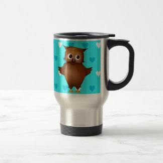 Cute Owl on Blue Heart Pattern Background Coffee Mugs