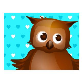 Cute Owl on Blue Heart Pattern Background Postcard