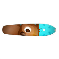 Cute Owl on Blue Heart Pattern Background Skateboard Deck