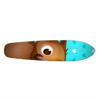 Cute Owl on Blue Heart Pattern Background Skateboard Deck