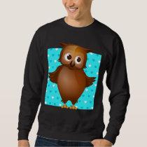 Cute Owl on Blue Heart Pattern Background Sweatshirt