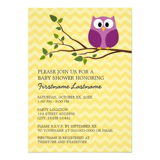 Cute Owl on Branch and chevrons Baby Girl Shower Personalized Invitation
