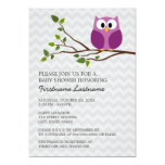 Cute Owl on Branch and chevrons Baby Girl Shower 5x7 Paper Invitation Card