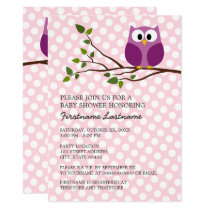 Cute Owl on Branch and polka dots Baby Girl Shower Card