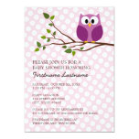 Cute Owl on Branch and polka dots Baby Girl Shower 5x7 Paper Invitation Card
