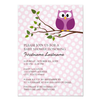 Cute Owl on Branch and polka dots Baby Girl Shower Invitations