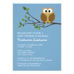 Cute Owl on Branch Baby Boy Shower Custom Invites