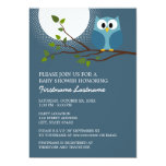 Cute Owl on Branch Baby Boy Shower 5x7 Paper Invitation Card