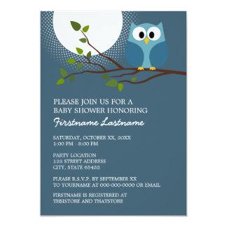 """Cute Owl on Branch Baby Boy Shower 5"""" X 7"""" Invitation Card"""