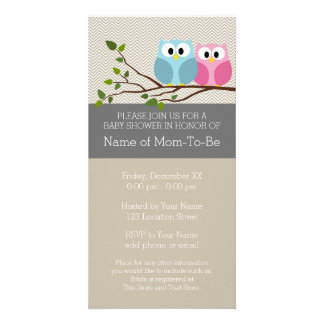 Cute Owl on Branch Baby Girl or Boy Shower Card